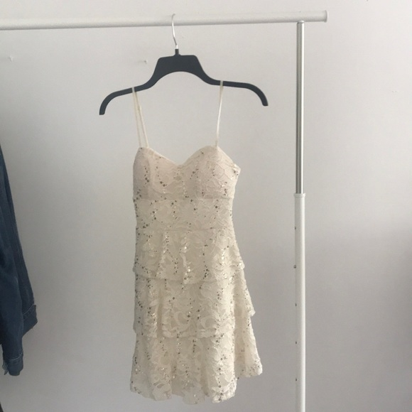 Macys Dresses Sm Cream Lace Homecoming Dress With Gold Sequins